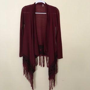 Knit tribal print cardigan